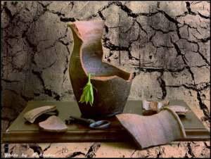Глиняный кувшинчик - разбитый